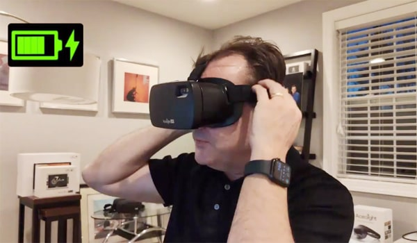 Acesight VR electronic glasses for low vision - wearing Acesight VR